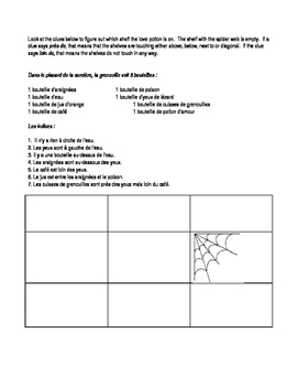French Halloween Reading with prepositions and logic puzzle