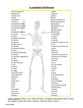 French Halloween Vocabulary