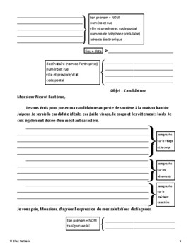 French - Halloween Writing Activity (Witch's Cover Letter and Résumé)