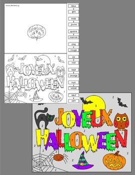 French Halloween color by number cards Joyeux Halloween