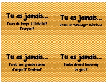 "French ""Have You Ever"" cards for Vocabulary and Conversation"
