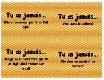 """French """"Have You Ever"""" cards for Vocabulary and Conversation"""