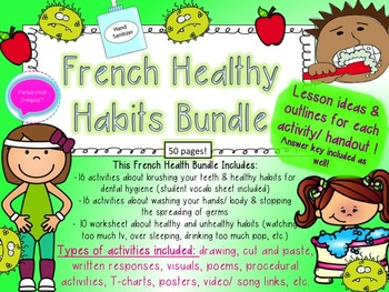French Healthy Choices Bundle- La sante- Teeth, Washing Hands + Hygiene & More!