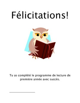 French Home Reading Program Certificate