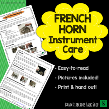 French Horn Instrument Care FREEBIE