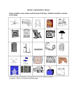 French House Furnishings Picture Bingo and Hidden Word Puzzle
