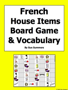 French House Items Board Game and Vocabulary