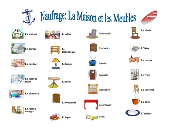 French House and Furniture Speaking/Writing  Activity (Naufrage)