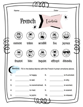French Human Emotions Worksheet Packet