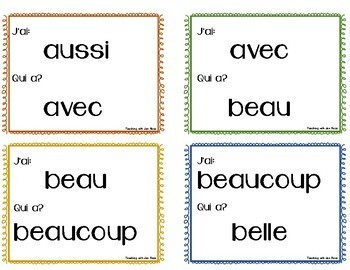 French: I Have, Who Has? Sight Word Card Game {J'ai...Qui a?}