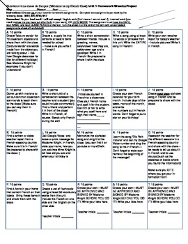 French I Introductory Unit TicTacToe Project Sheet