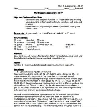French I Unit 1 Lesson 5: Numbers 10-39/Les nombres 10-39 Lesson Plan