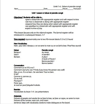French i unit 1 lesson 6 greetings and basic conversationssaluer french i unit 1 lesson 6 greetings and basic conversationssaluer lesson plan m4hsunfo