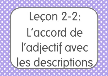 French I Unit 2 Lesson 2: L'accord de l'adjectif/adjective agreement with gender