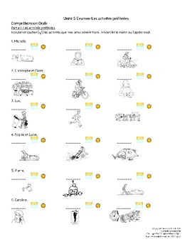 French I Unit 5 Infinitives Exam/Test with Oral Assessment and Rubric