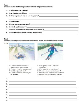 French I Weather and Summer / Winter Vocabulary Exercises