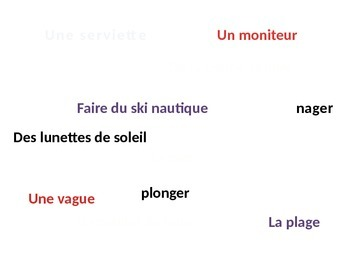 French I weather and summer / winter vocabulary game