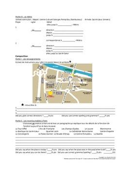 French I/II: En Ville Unit Test/Exam