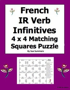 French IR Verb Infinitives 4 x 4 Matching Squares Puzzle