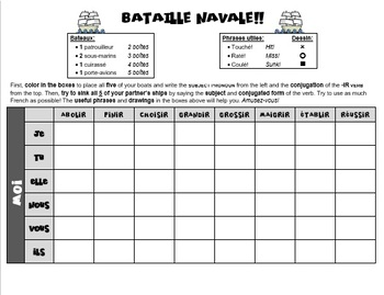 French -IR Verbs Game - Bataille navale (Battleship)