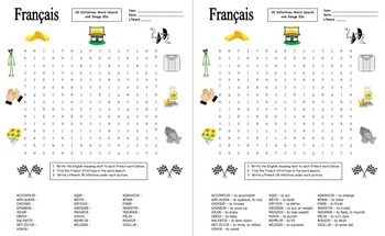 French IR Verbs Word Search Puzzle, Image IDs, and Vocabulary Lists