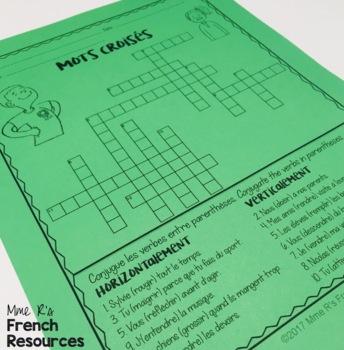 French -IR and -RE verbs crossword puzzle  LES VERBES EN -IR ET -RE