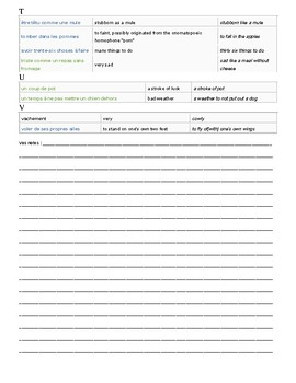 French Idioms - A fun worksheet to start discussions in French