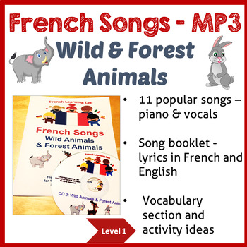 French Immersion - 11 Songs - Learn Wild & Forest Animals in