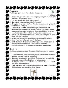 French Immersion Short Story-Bienvenue joyeux printemps