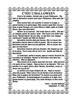 French Immersion Short Story-C'est l'Halloween