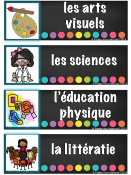 French Immersion Classroom Schedule labels with visuals