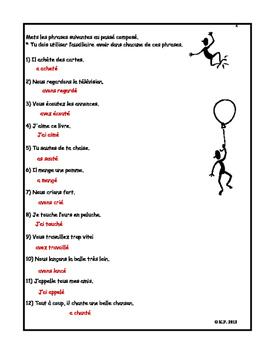 French Immersion-Explorons le passé composé-Corrections