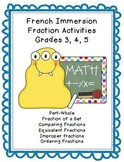 French Immersion Fraction Worksheets Grade 3, 4, 5
