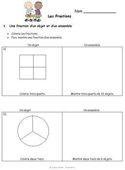 french immersion fraction worksheets grade 3 4 5 by irene priest. Black Bedroom Furniture Sets. Home Design Ideas