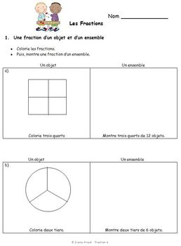 french immersion fraction worksheets grade 3 4 5 by irene priest. Black Bedroom Furniture Sets. Home Design Ideas