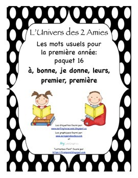 French Immersion Grade 1 Sight Words Package 16