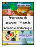 French Immersion Grade 7 Science Program (YEAR-LONG CURRICULUM)
