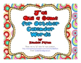 French Immersion J'ai Qui a Game October Calendar Words