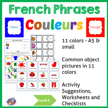 French colors -Learn to use color words in phrases - couleurs!