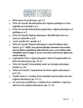 French Immersion-Les régions physiques et politiques du Canada