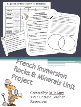 French Immersion Roches et Minéraux Unit Projects