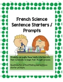 French Immersion Science Sentence Starters and Question Prompts