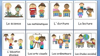 French Immersion - Subject word cards with images v.2