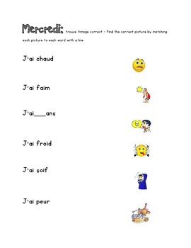 French Immersion Weekly Words Homework, Bell Work, 13 - Avoir / J'ai Expressions
