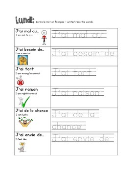 French Immersion Weekly Words Homework, Bell Work, 14 - Avoir / J'ai Expressions