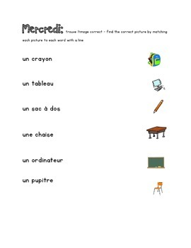 French Immersion Weekly Words Homework, Bell Work, 15 - School Words 2