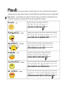 French Immersion Weekly Words Homework, Bell Work, Practice 11 - Comment ca va 2