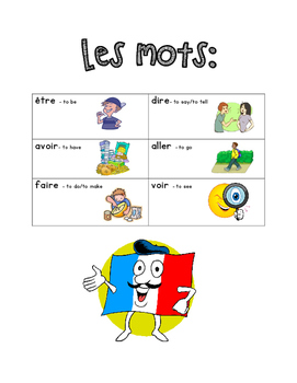 French Immersion Weekly Words Homework, Bell Work, Practice 16 - Verbs1