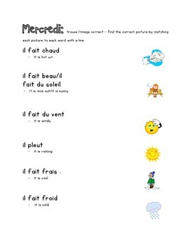 French Immersion Weekly Words Homework, Bell Work, Practice 5 - weather