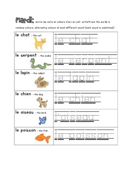 French Immersion Weekly Words Homework, Bell Work, Practice 6 - French Animals